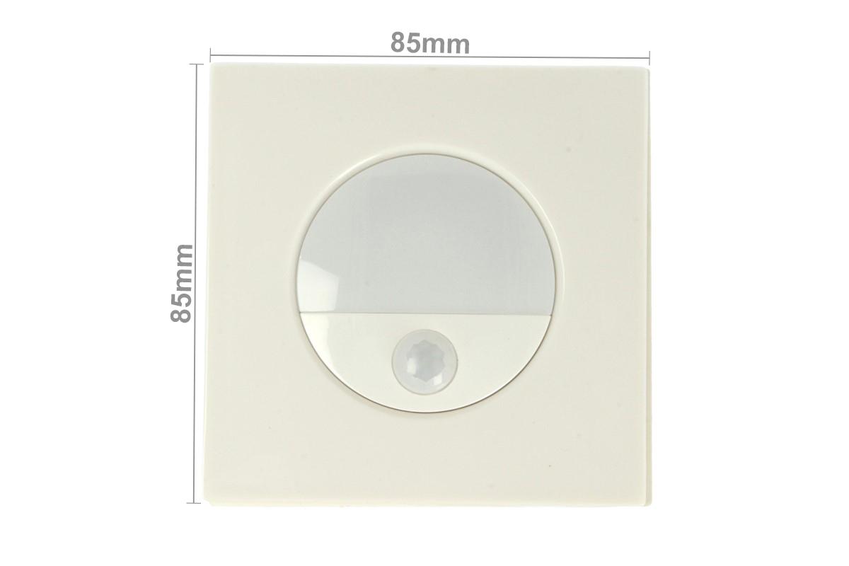 Faretto Luci Led Segnapasso Con Sensore Movimento 3W Bianco Neutro Quadrato Scatola Incasso 86X86 da Muro Incluso SKU-5570 - PZ