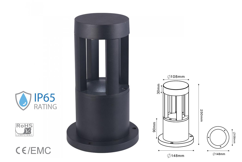 Lampada Led Da Terra 10W Per Giardino Altezza 250mm Bianco Neutro Carcassa Nera Esterno IP65 SKU-8323 - PZ
