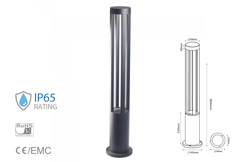 Lampada Led Da Terra 10W Per Giardino Altezza 800mm Bianco Neutro Carcassa Nera Esterno IP65 SKU-8332 - PZ