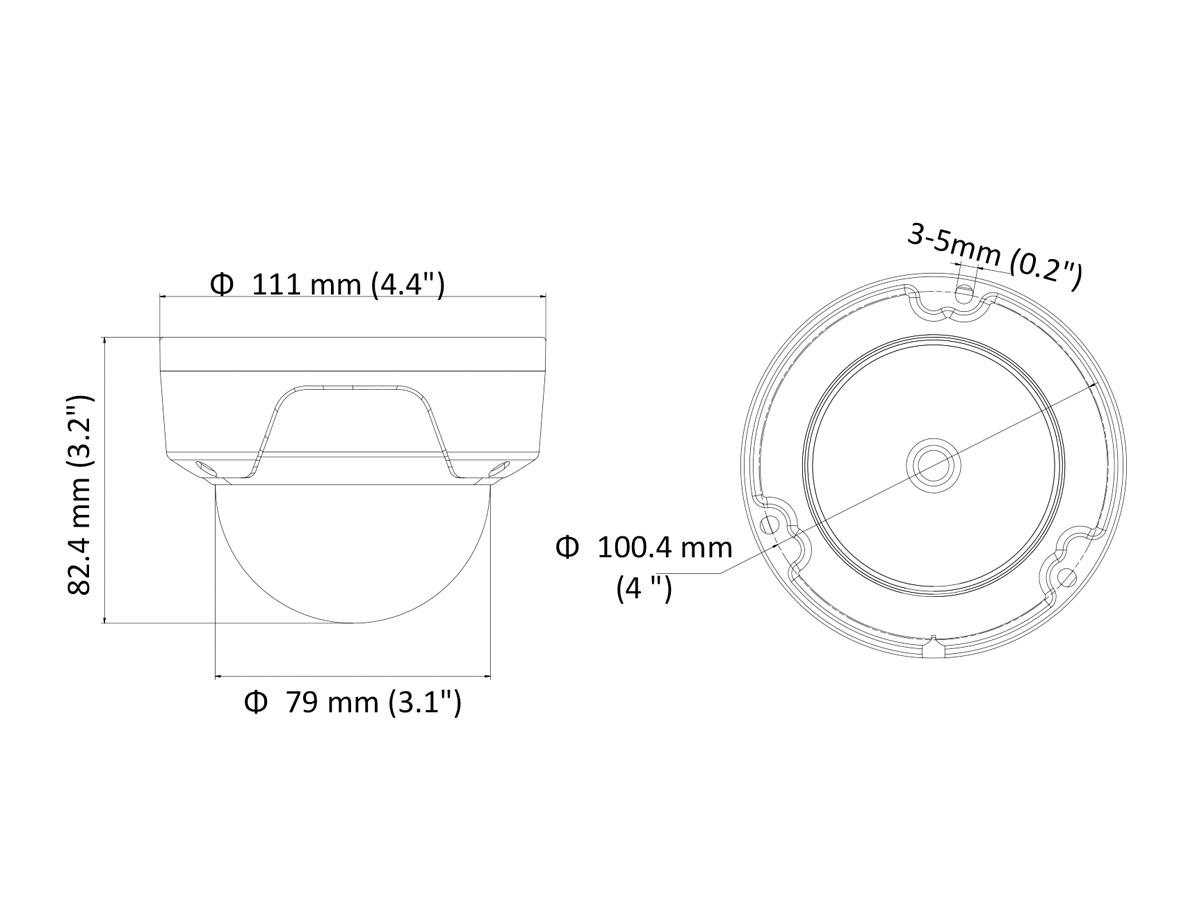 Telecamera IP Turret Dome 1440P 4MP Ottica Varifocale Motorizzato 2.8-12mm H.265