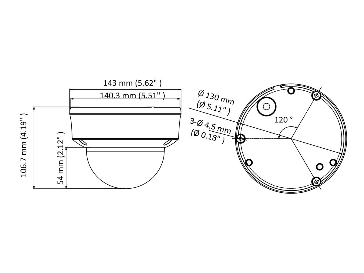 Telecamera Analogica Dome 1080P 2MP Ottica Varifocale Manuale 2.8-12mm IP66 IK10