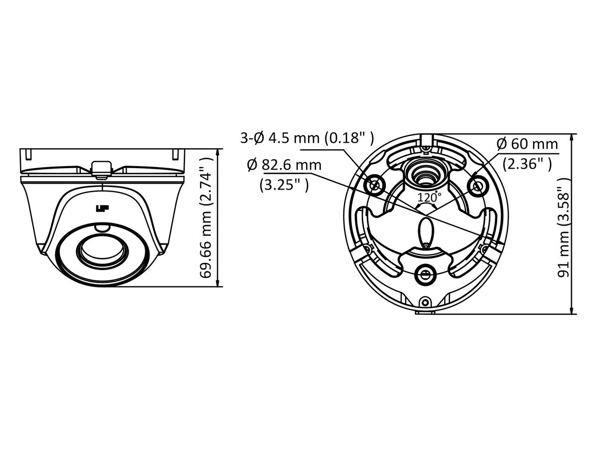 Telecamera Analogica Turret Dome 720P 1MP Ottica Fissa 2.8mm IP66 OSD EXIR Smart