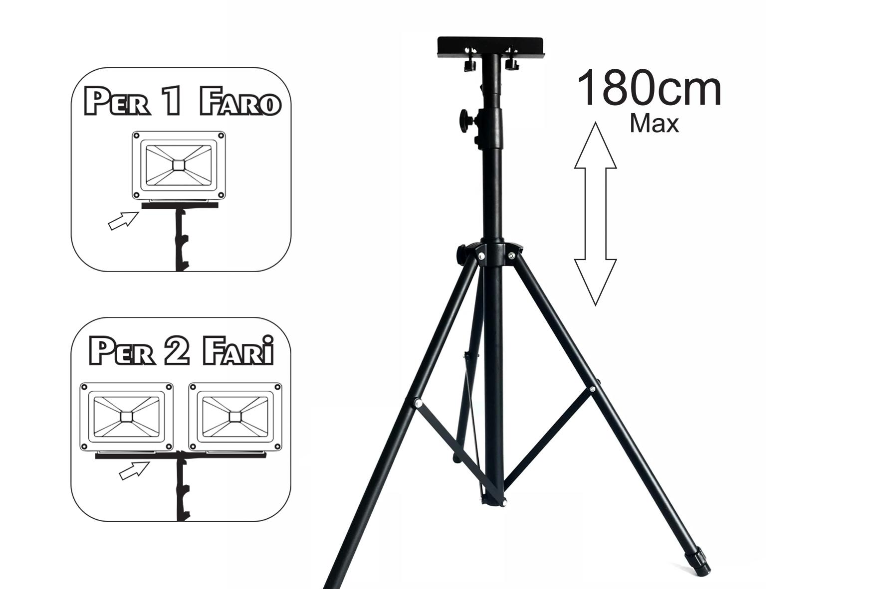 Tripiedi Treppiede Tripod Portafari Multiuso Per Faro Proiettore Uso Cantiere Officina 1 o 2 Faretti Max 180cm Altezza - PZ