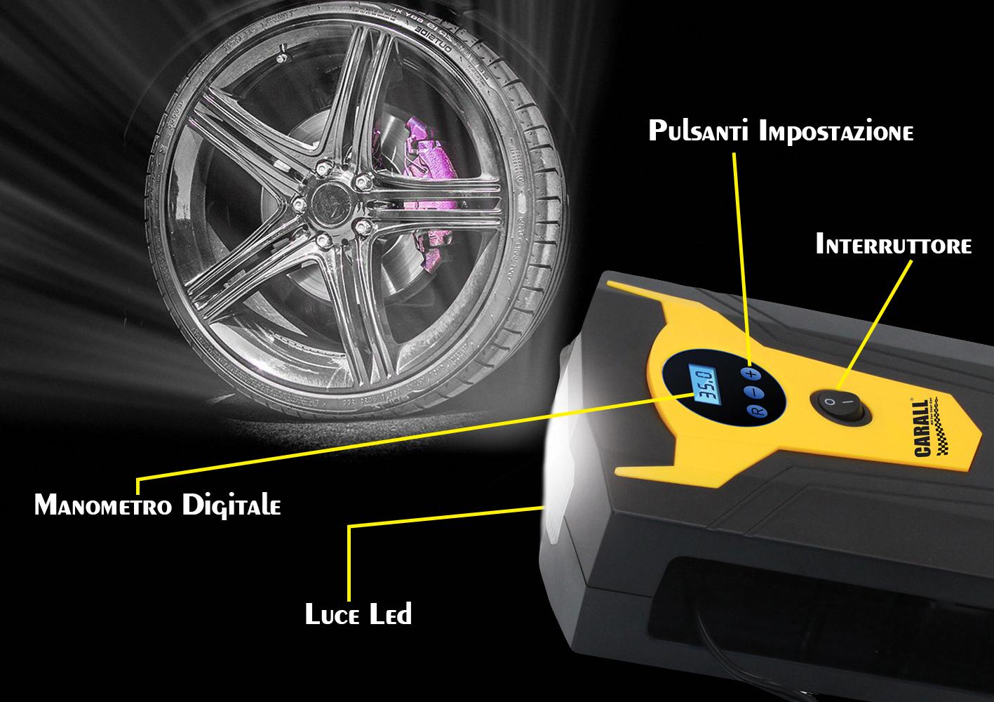 Compressore Aria Portatile Pompa Digitale Per Auto Moto Bici Con Accendisigari Si Ferma In Automatico Con Luce Led Per Uso Notturno - PZ