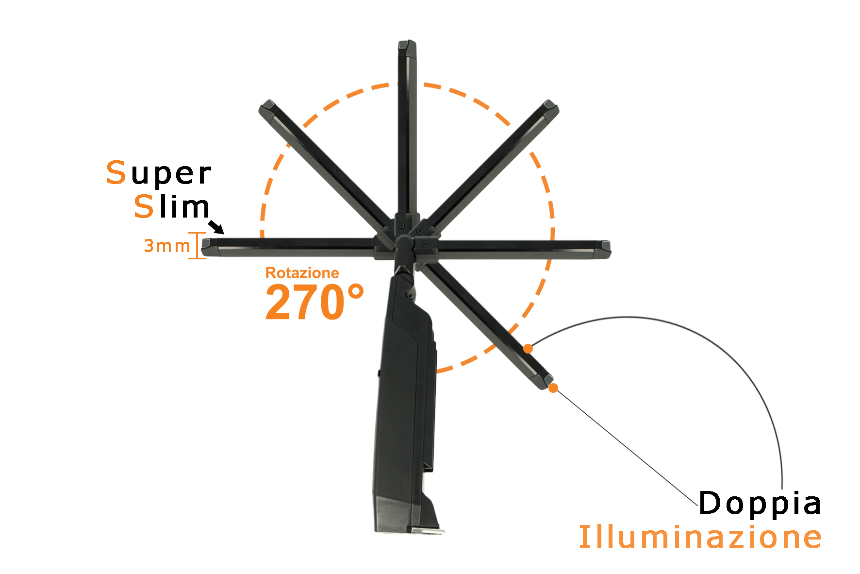 Lampada Led Officina Torcia Ricaricabile Pieghevole Snodabile Slim 9mm Calamita Gancio Doppia Illuminazione Per Ispezione - PZ