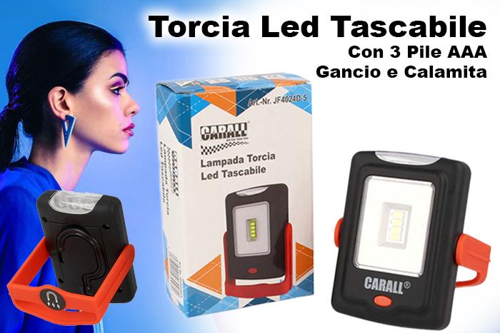 Torcia Led Tascabile Con 3 Pile AAA Gancio Calamita - PZ