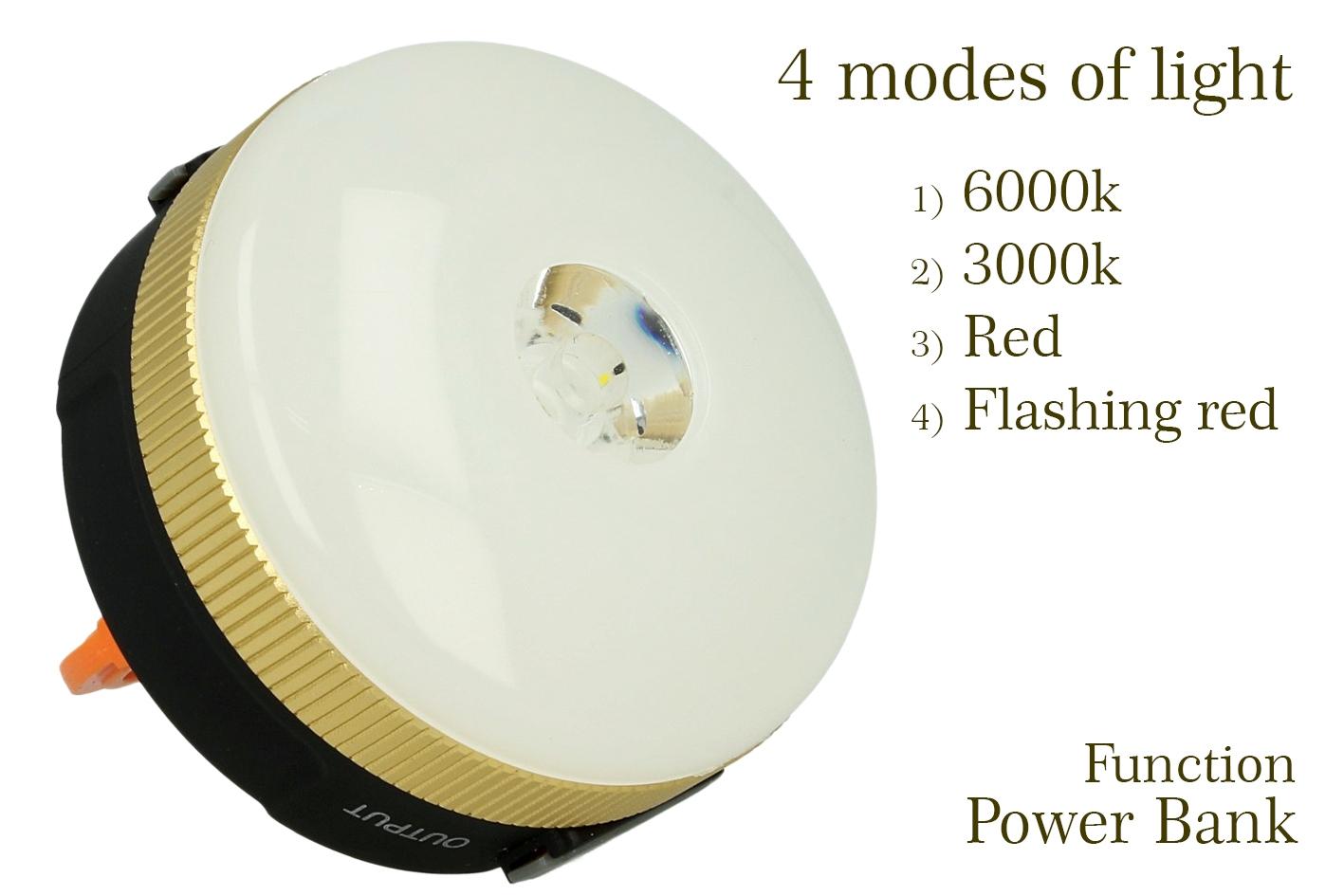 Lampada Led Ricaricabile Da Campeggio Pesca Forma Lanterna 4 Modalita Esterno Ricarica Telefono Per Emergenza - PZ