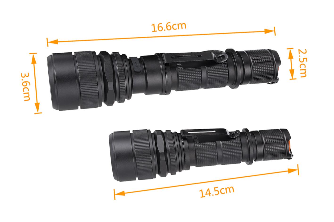 Torcia Portatile Ricaricabile Zoomabile Tattico Campeggio Sport Impermeabile 5 modalita di luce - PZ