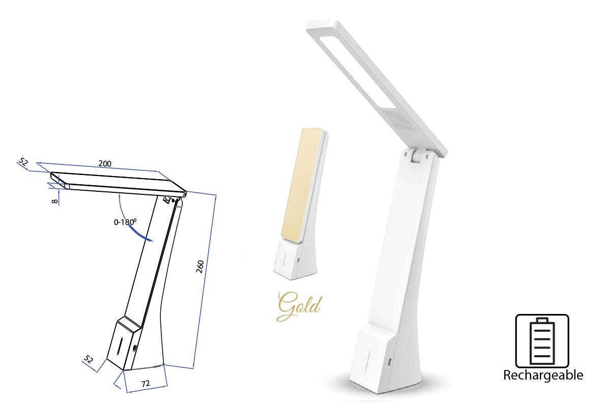 Lampada Led Da Tavola Ricaricabile Portatile 4W Dimmerabile In 3 Intensita Bianco + Oro SKU-7099 - KIT