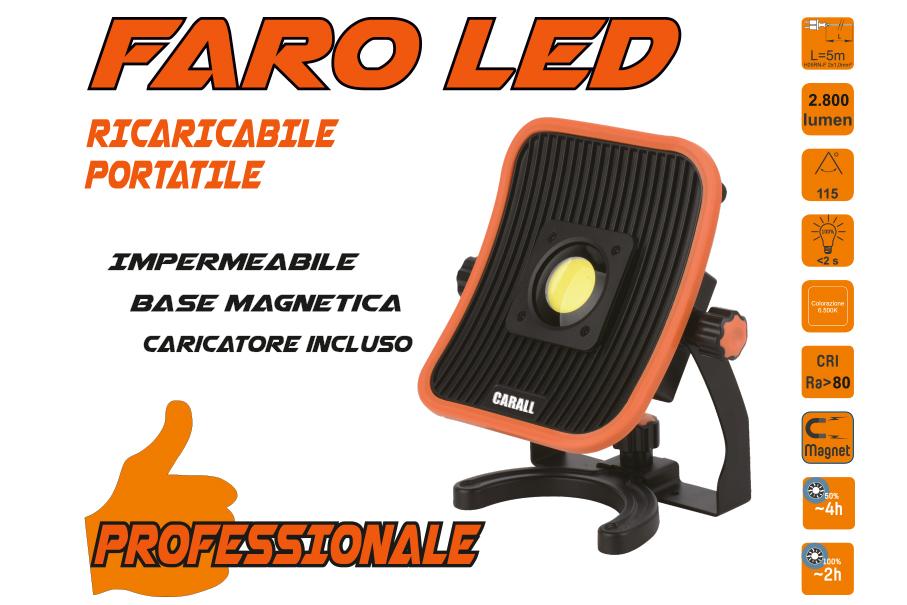 Proiettore Faro Led Flood Professionale 30W Ricaricabile e Cavo 5 Metri Dual System Base Magnetica Batteria Estraibile Utilizzabile Come Power Bank - PZ