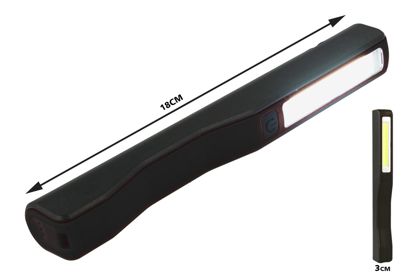 Mini Lampada Torcia Led Officina Ricaricabile Tascabile 2W Doppia Illuminazione Colore Nero - PZ
