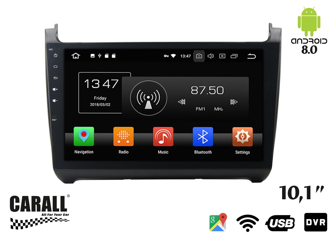 Autoradio Android 8,0 VW Polo GPS DVD USB SD WI-FI Bluetooth Navigatore - KIT