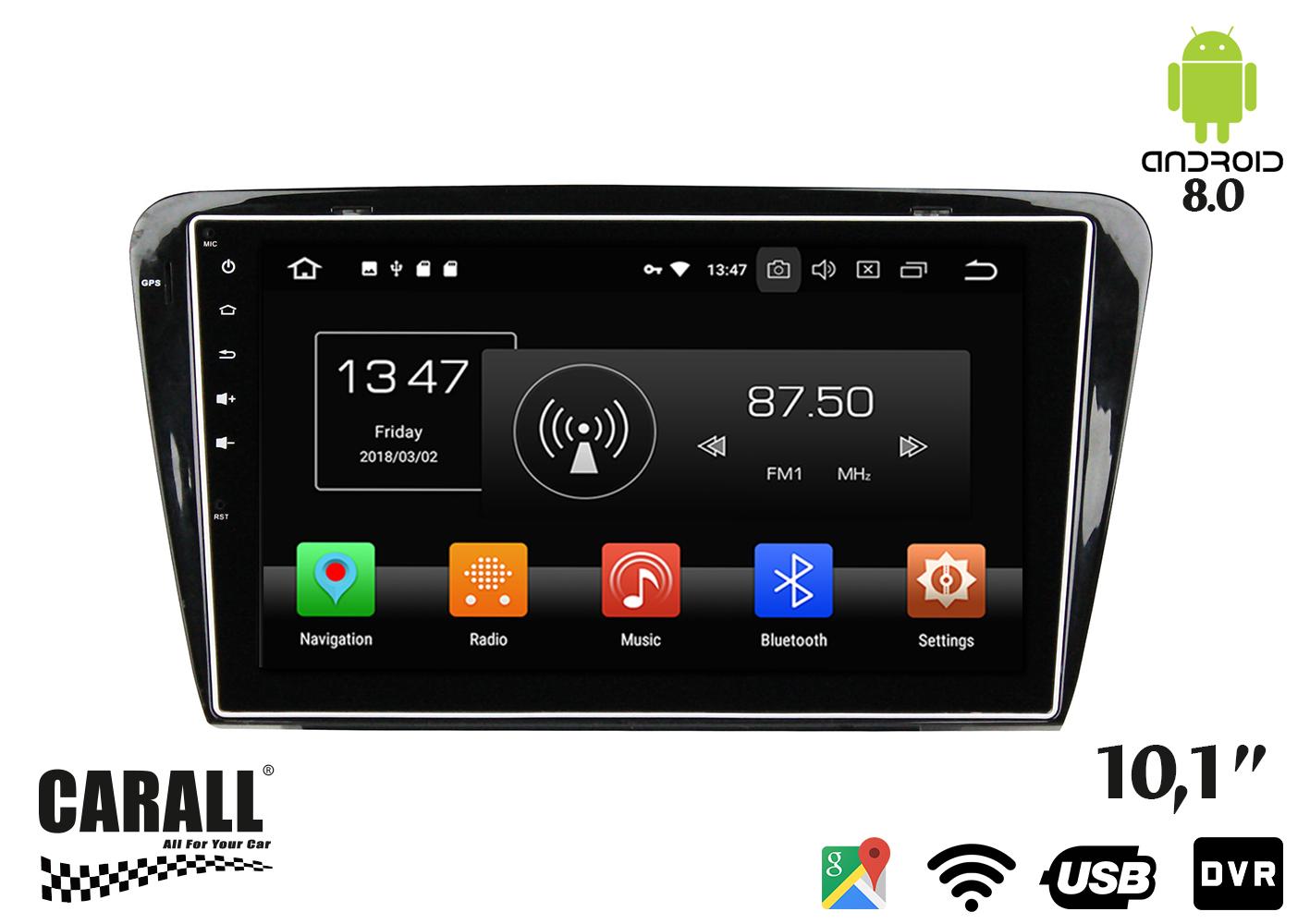 Autoradio Android 8,0 Skoda Octavia 2014 GPS DVD USB SD WI-FI Bluetooth Navigatore - KIT