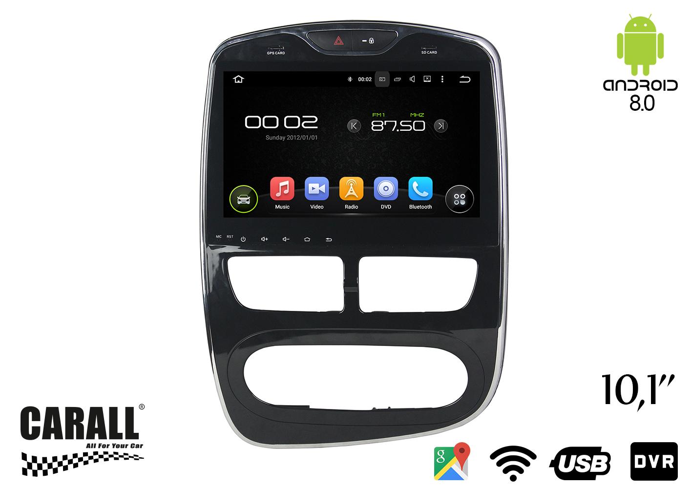 Autoradio Android 8,0 Renault Clio GPS DVD USB SD WI-FI Bluetooth Navigatore - KIT