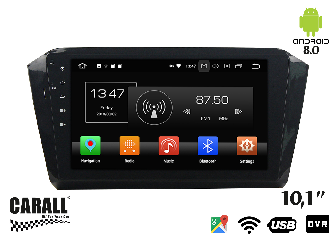 Autoradio Android 8,0 VW Passat 2016 GPS DVD USB SD WI-FI Bluetooth Navigatore - KIT