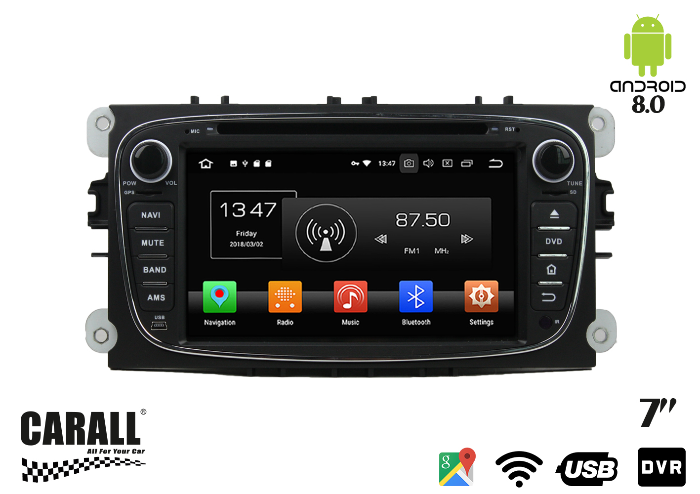 Autoradio Android 8,0 Ford Mondeo GPS DVD USB SD WI-FI Bluetooth Navigatore - KIT