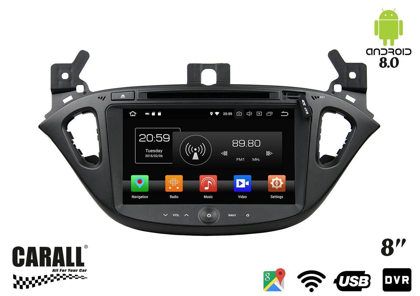 Autoradio Android 8,0 Opel Corsa GPS DVD USB SD WI-FI Bluetooth Navigatore - KIT