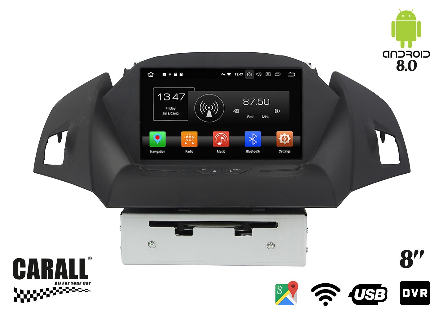 Autoradio Android 8,0 Ford Kuga GPS DVD USB SD WI-FI Bluetooth Navigatore - KIT