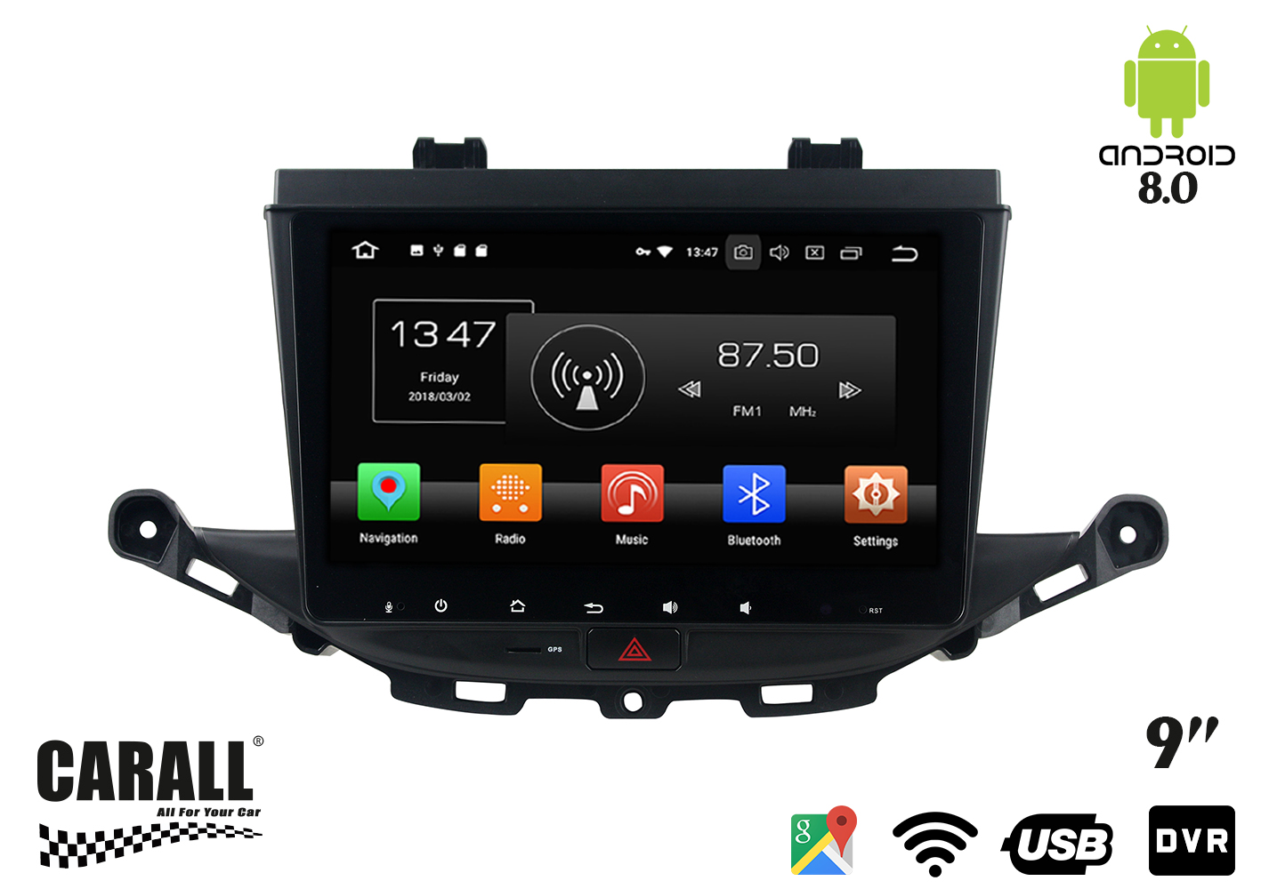 Autoradio Android 8,0 Opel Astra K GPS DVD USB SD WI-FI Bluetooth Navigatore - KIT