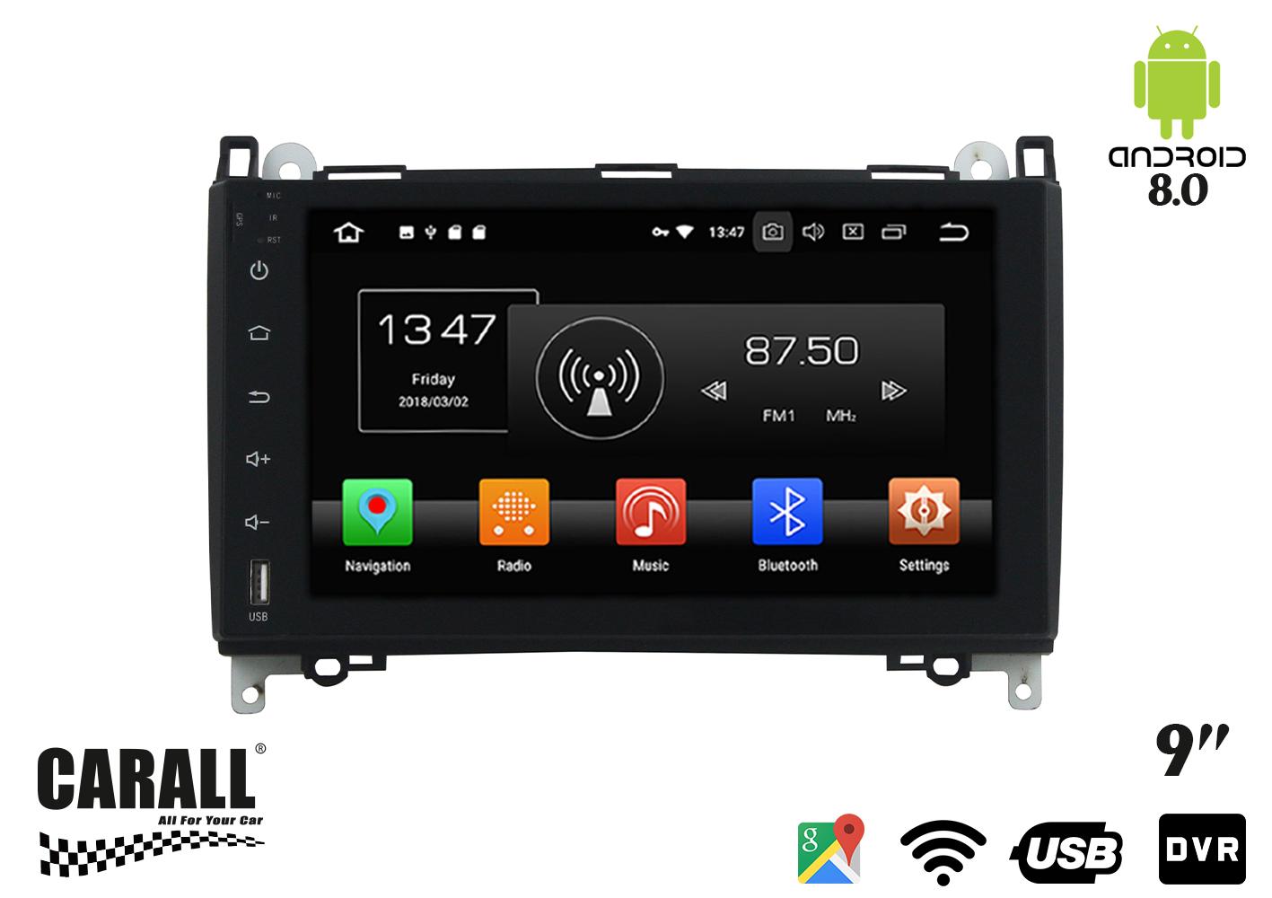 Autoradio Android 8,0 Mercede Benz B200 GPS DVD USB SD WI-FI Bluetooth Navigatore - KIT