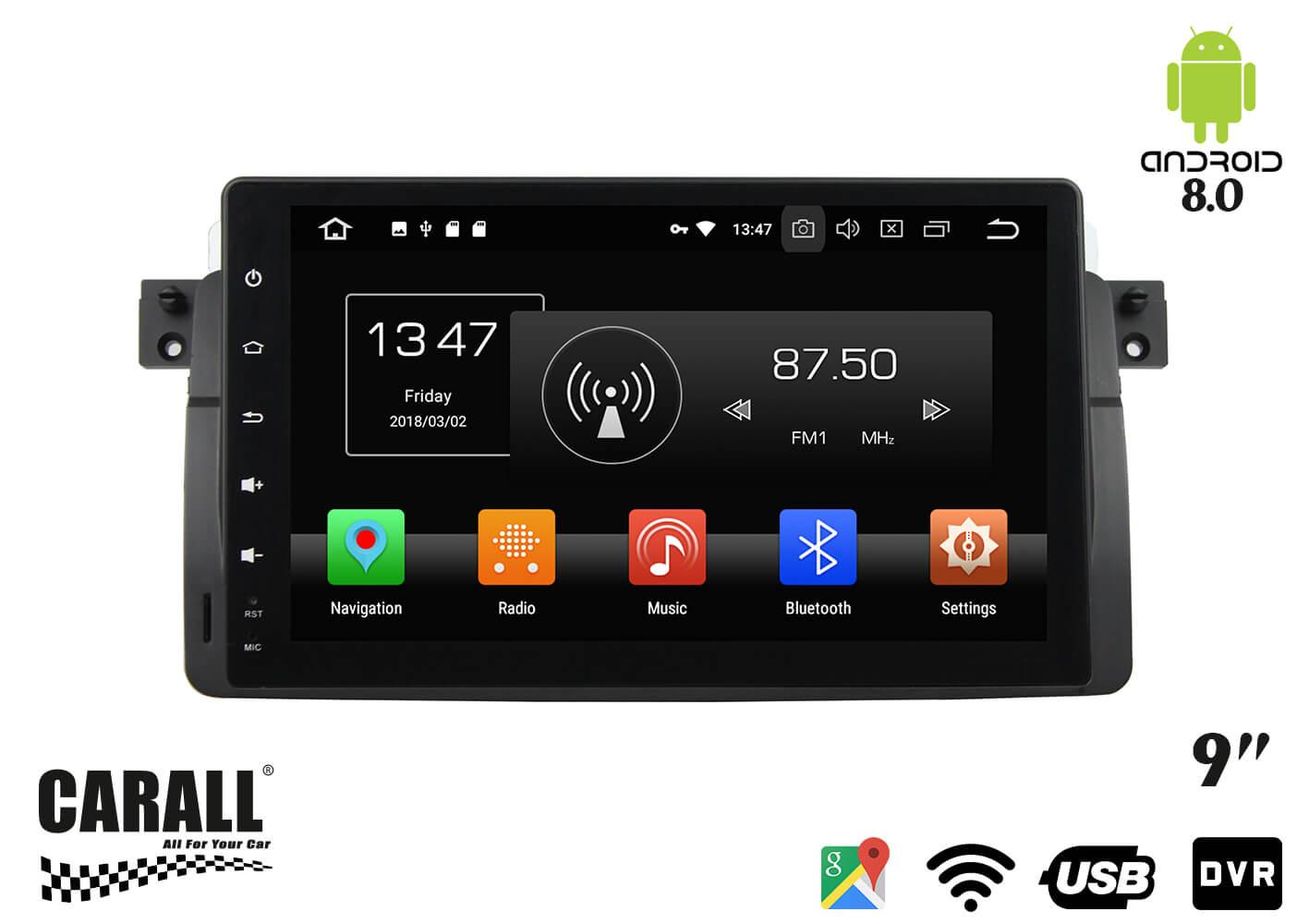 Autoradio Android 8,0 BMW E46 GPS DVD USB SD WI-FI Bluetooth Navigatore - KIT