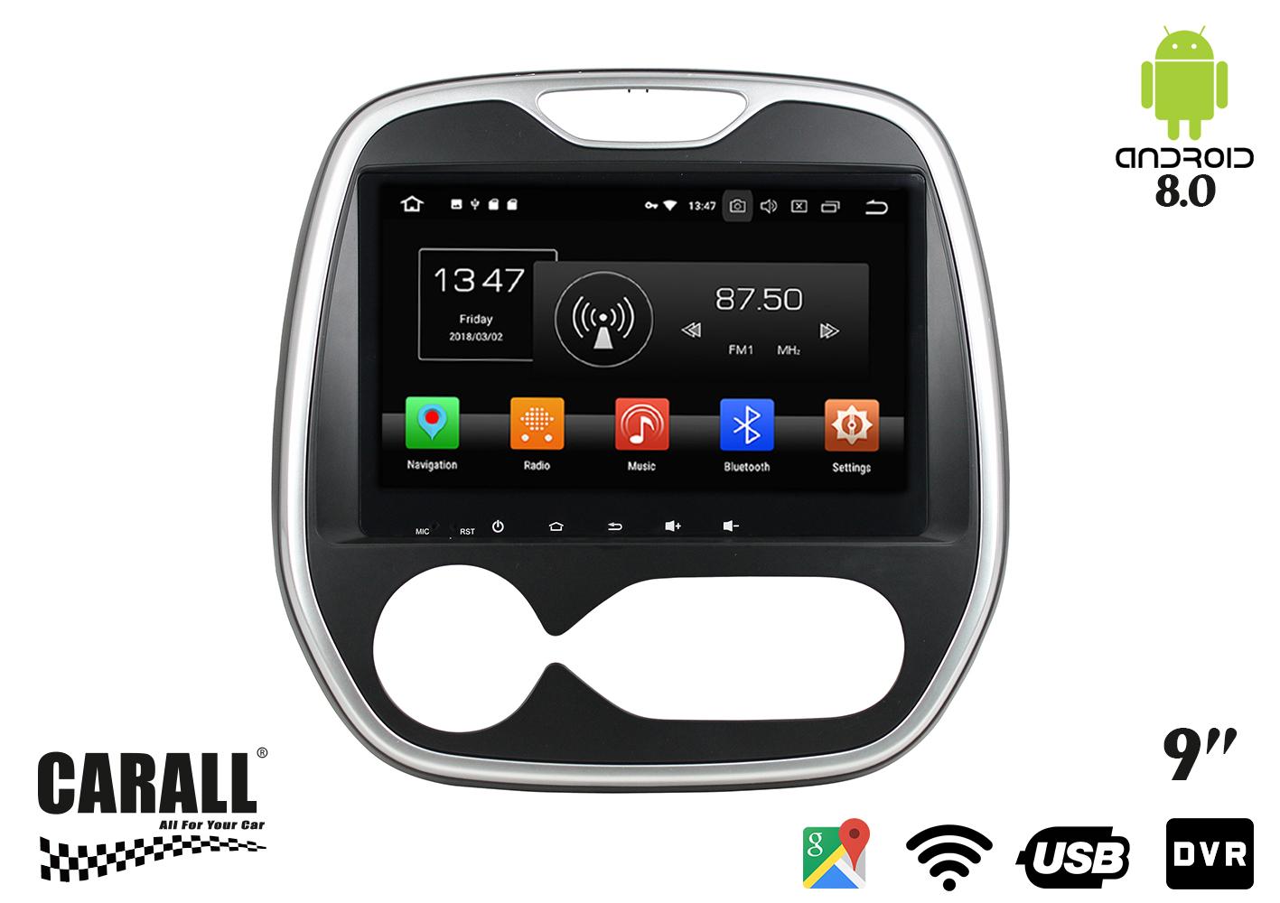 Autoradio Android 8,0 Renault Captur GPS DVD USB SD WI-FI Bluetooth Navigatore - KIT