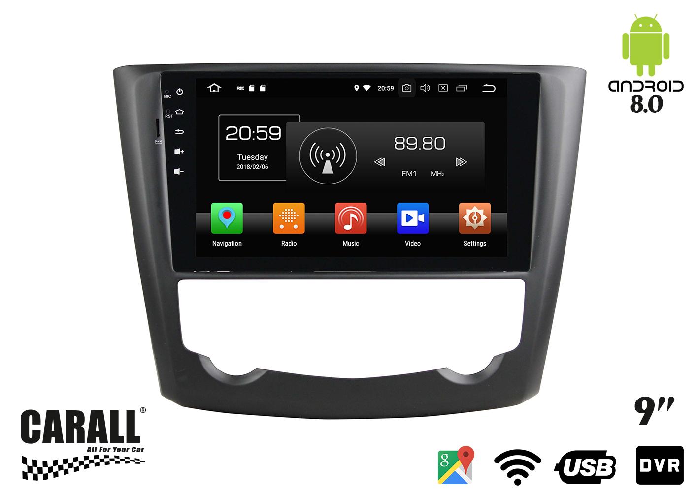 Autoradio Android 8,0 Renault Kadjar GPS DVD USB SD WI-FI Bluetooth Navigatore - KIT