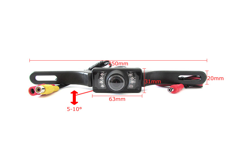 Telecamera Retromarcia Portatarga Infrarossa Stagna IP65 7 Led 12V Per Auto - KIT