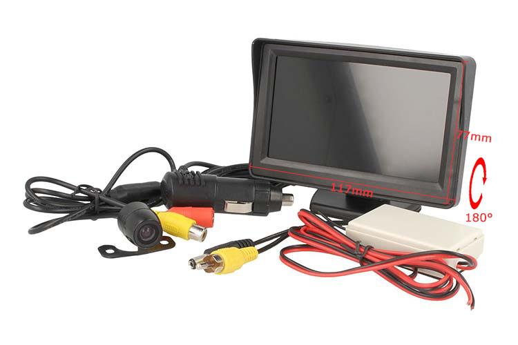 Kit Retromarcia Telecamera Portatarga Monitor 4,3`` Wireless 12V Camper Furgone - KIT