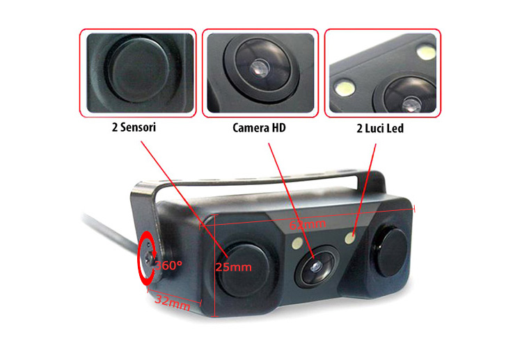 Video Parking Sensor 3 In 1 Telecamera Portatarga Visione Notturna Con Led 2 Sensori Parcheggio e Cicalino - KIT