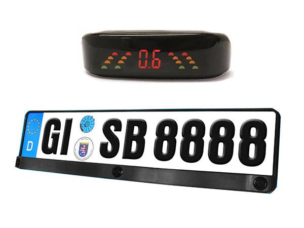 Kit 3 Sensori Di Parcheggio Portatarga Standard EU Display Led e Suono Acustico 12V SB-E17 - KIT