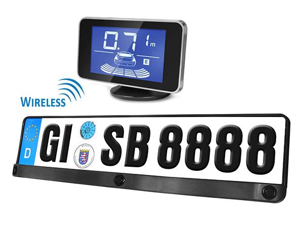 Kit 3 Sensori Di Parcheggio Wireless Senza Filo Portatarga Standard EU Display Led Cicalino Acustico 12V SB668W-L - KIT
