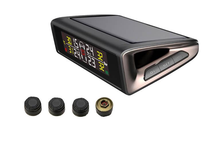TPMS Wireless Pannello Solare Con 4 Sensori Esterni Per Privato Sistema Monitoraggio Pressione Pneumatici Digitale - KIT