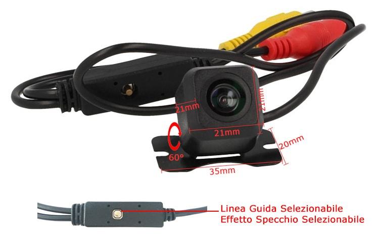 Telecamera Retromarcia Portatarga Orientabile Linea Guida e Effetto Specchio Opzionale 12V Auto - KIT