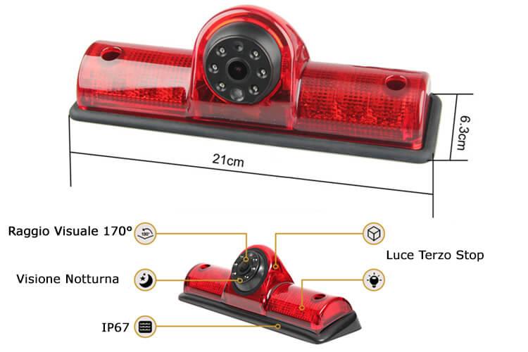 Telecamera Retromarcia Universale Per Furgone Camper Fuoristrada 4X4 Jeep Con Luci Led Terzo Stop Posteriore - KIT