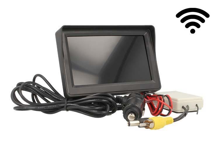 Monitor LCD Wireless 4,3`` Slim Con Modulo Per Telecamera Ideale Per Auto Grande Camper Furgone - KIT