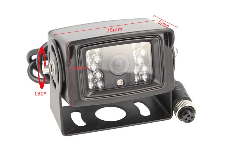 Telecamera Retromarcia 4 Pin Orientabile Notturno 12V Camion Furgone Lungo Camper Tir Con 18 Led IP67 - KIT
