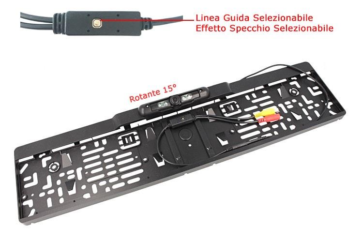 Retrocamera Telecamera Portatarga Retromarcia Standard Targa EU Rotante 15 Gradi Con 4 Led Linea Guida Effetto Specchio Opzionale - KIT
