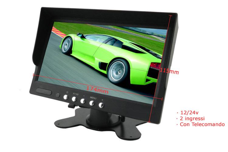 Monitor TFT 7 Pollici 2 Ingressi Video Audio Per Telecamera 12V Auto Camper 24V Camion Con Telecomando - KIT