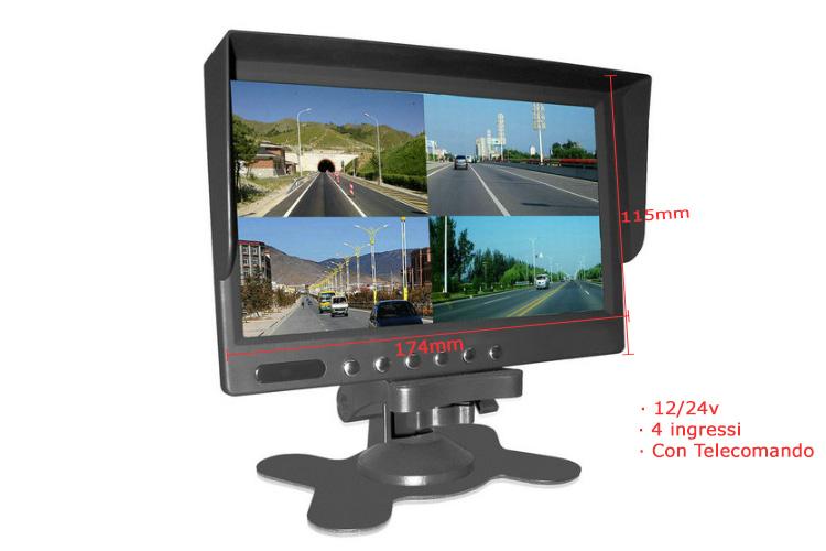 Monitor TFT 7 Pollice 4 Schermi e Ingressi Video 12V Auto Furgone 24V Camion Tir Telecomando Incluso - KIT