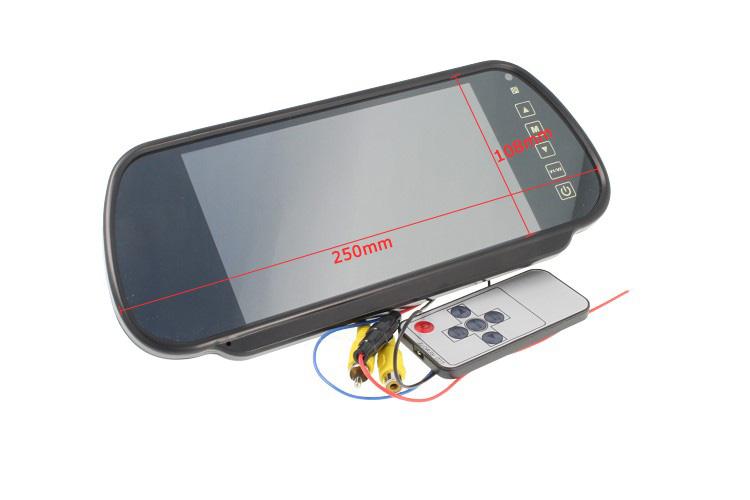 Monitor Specchio Retrovisore 7 Pollici Doppio Ingresso Video Per Telecamera Retromarcia Touchscreen e Telecomando - KIT