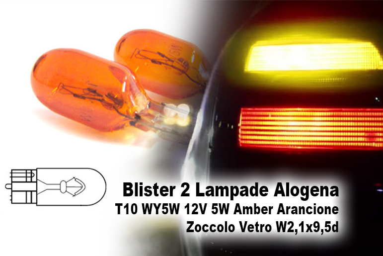 Blister 2 Lampade Alogena T10 WY5W 12V 5W Amber Arancione Zoccolo Vetro W2,1x9,5d - PAIO