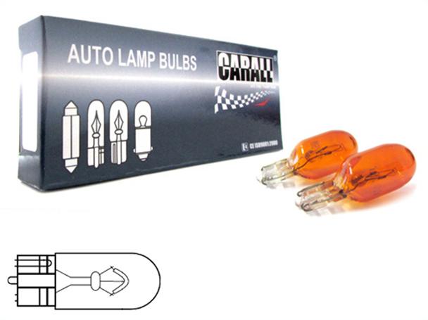10 Pezzi Lampada Alogena T10 WY5W 12V 5W Amber Arancione Zoccolo Vetro W2,1x9,5d - Confezione