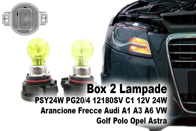 Box 2 Lampade PSY24W PG20/4 12180SV C1 12V 24W Arancione Frecce Audi A1 A3 A6 VW Golf Polo Opel Astra - PAIO