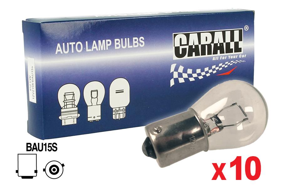 10 Pezzi Lampada Alogena S25 PY21W BAU15S 12V 21W Singolo Filamento Trasparente Piedi Storti - Confezione