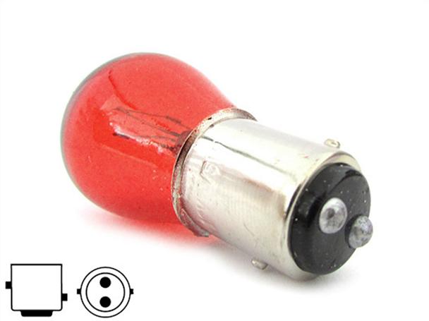 10 Pezzi Lampada Alogena S25 P21/5W BAY15D 12V 21/5W Rosso Doppio Filamento - Confezione