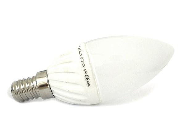 Lampada A Goccia Led E14 Candela Oliva 4W=45W 220V Bianco Neutro 4000K Base Ceramica - PZ