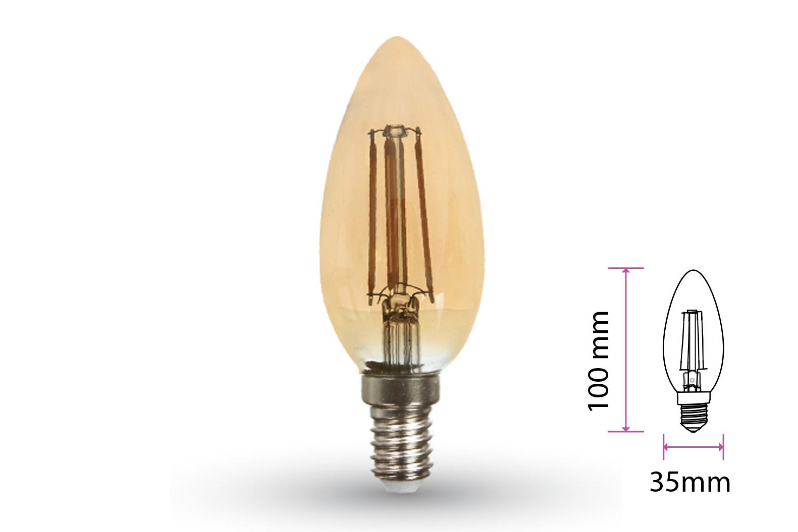 Lampada Filo Led a Filamento E14 C35 4W=35W Bianco Caldo 2200K Amber Candela A Goccia Oliva SKU-7113 - PZ