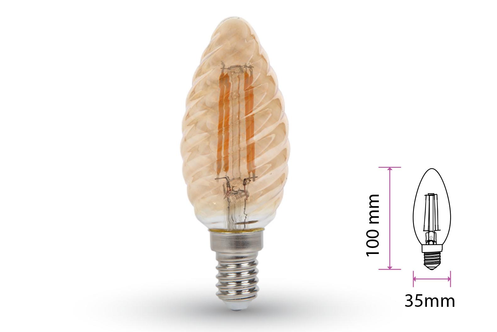 Lampada Filo Led a Filamento E14 C35 4W=35W Bianco Caldo 2200K Amber Copertura Vortici Cover Twist SKU-7115 - PZ