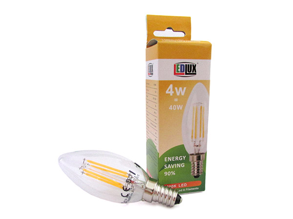 Lampada Filo Led a Filamento E14 C35 4W=40W 360 Gradi Bianco Caldo 2700K Candela A Goccia Oliva SKU-4301 - PZ